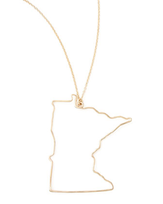 Gold State Pendant Necklace, Minnesota