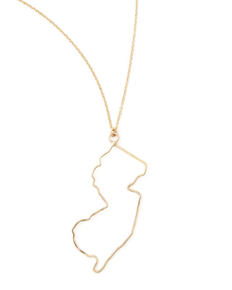 Gold State Pendant Necklace, New Jersey
