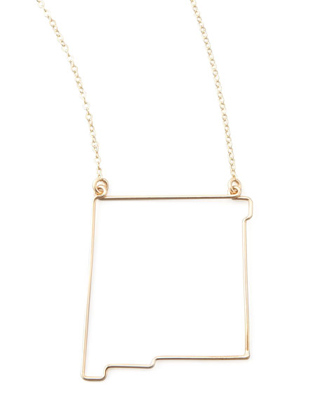 Gold State Pendant Necklace, New Mexico