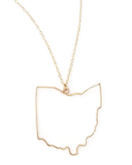 Gold State Pendant Necklace, Ohio