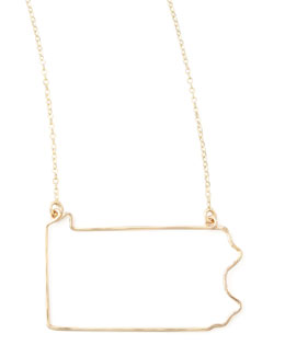 GaugeNYC Gold State Pendant Necklace, Pennsylvania