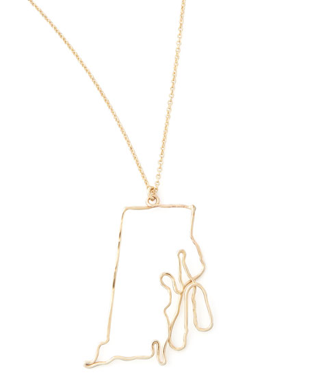 Gold State Pendant Necklace, Rhode Island