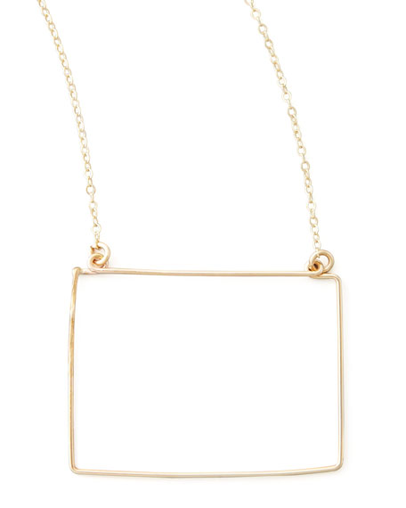 Gold State Pendant Necklace, Wyoming