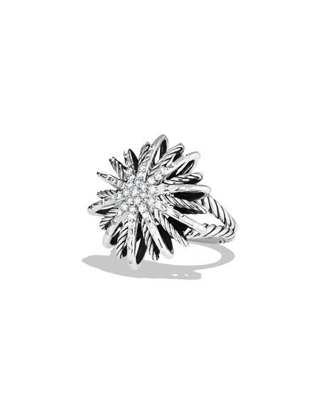 Starburst Medium Ring With Diamonds in Silver