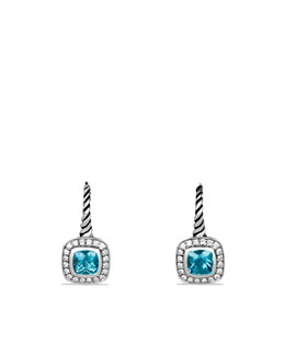 David Yurman Albion Drop Earrings with Blue Topaz and Diamonds