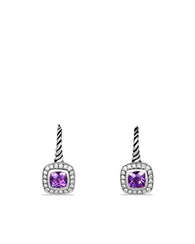 David Yurman Albion Drop Earrings with Amethyst and Diamonds