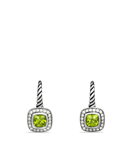 Albion Drop Earrings with Peridot and Diamonds