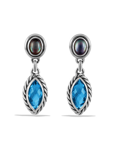David Yurman Confetti Double-Drop Earrings with Blue Topaz and Mother-of-Pearl