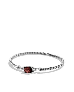 David Yurman Petite Wheaton Bracelet with Garnet and Diamonds