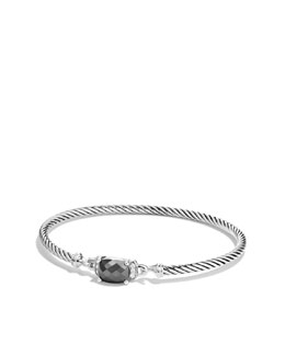 David Yurman Petite Wheaton Bracelet with Hematine and Diamonds
