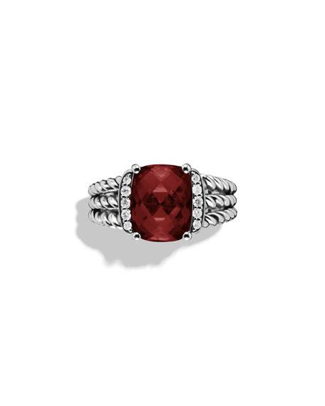 David Yurman Petite Wheaton Ring with Garnet and Diamonds
