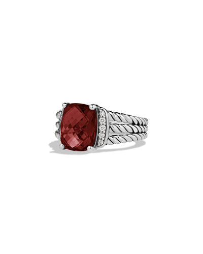 David Yurman Petite Wheaton Ring with Garnet and Diamonds
