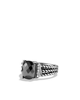 David Yurman Wheaton Ring with Hematine and Diamonds