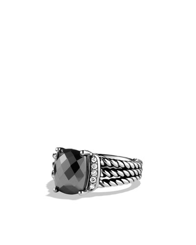 David Yurman Petite Wheaton Ring with Hematine and Diamonds