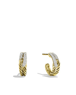 David Yurman Labyrinth Single-Loop Earrings with Diamonds in Gold