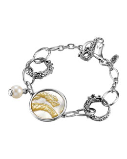 John Hardy Dragon Pearl-Charm Link Bracelet