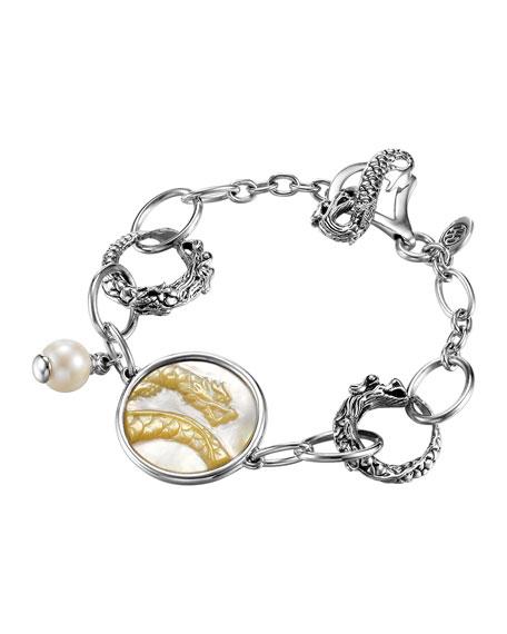 Dragon Pearl-Charm Link Bracelet
