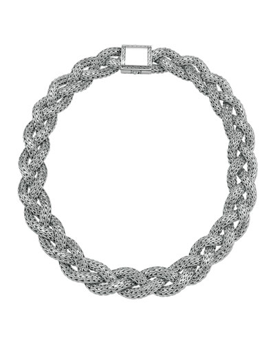 John Hardy Large Braided Silver Chain Necklace, Plain