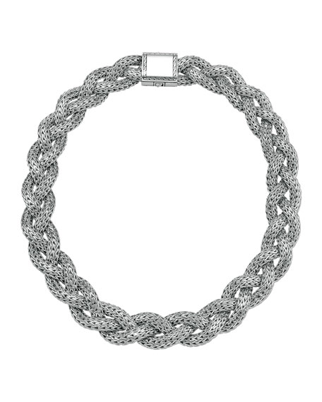Large Braided Silver Chain Necklace, Plain