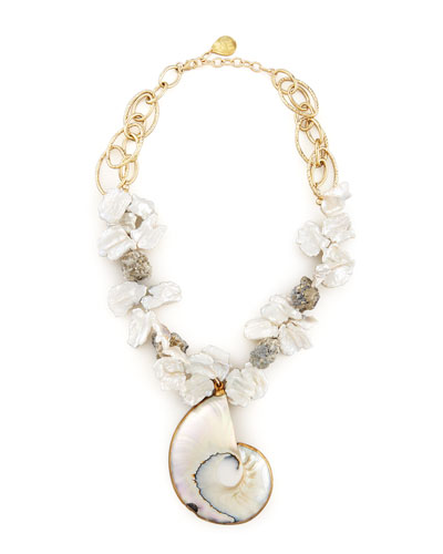 Devon Leigh Shell-Pendant Pearl Necklace
