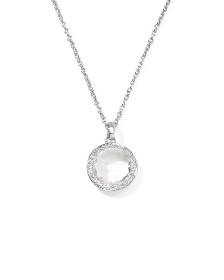 Lollipop Diamond Bezel Clear Quartz Pendant Necklace