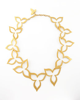 Herve Van Der Straeten Hammered Gold Flower Necklace