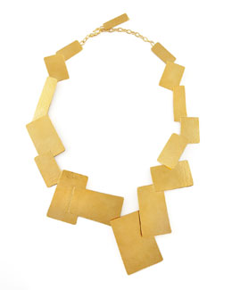 Herve Van Der Straeten Hammered Gold Geometric Necklace