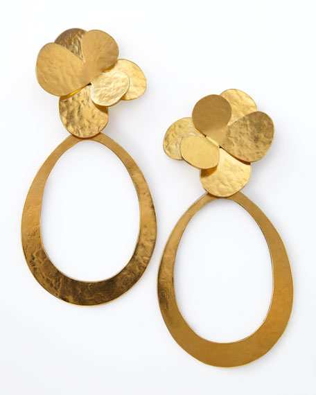 Hammered Gold Petal Earrings
