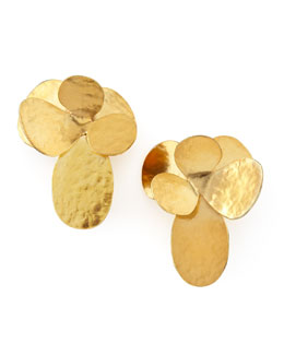 Herve Van Der Straeten Hammered Gold Petal Clip Earrings