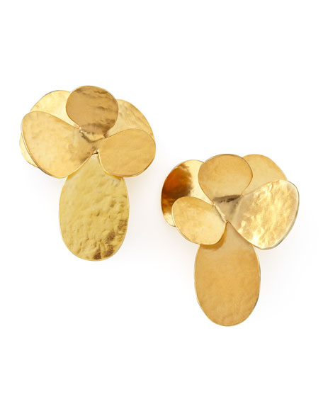 Hammered Gold Petal Clip Earrings