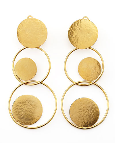 Hammered Gold Circle Drop Earrings