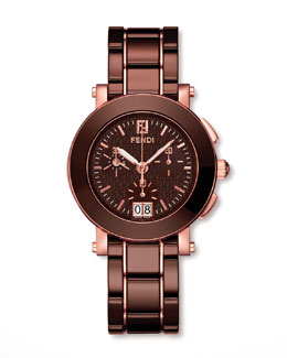 Fendi Rose Gold-Plated Ceramic Watch, Brown