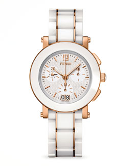 Fendi Rose Gold-Plated Ceramic Chronograph Watch, White