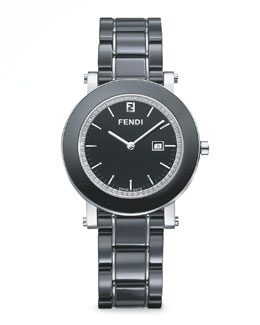 Fendi Stainless Steel Ceramic Diamond Watch