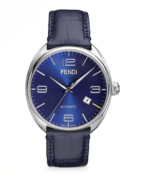 Fendimatic Automatic Steel Crocodile-Strap Watch