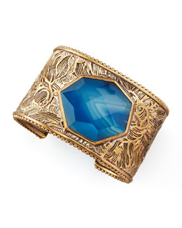 Stephen Dweck Agate Facet Floral-Carved Cuff
