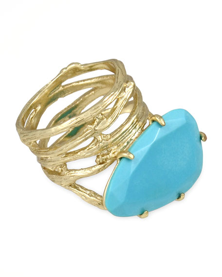 Cora Coil Ring, Turquoise