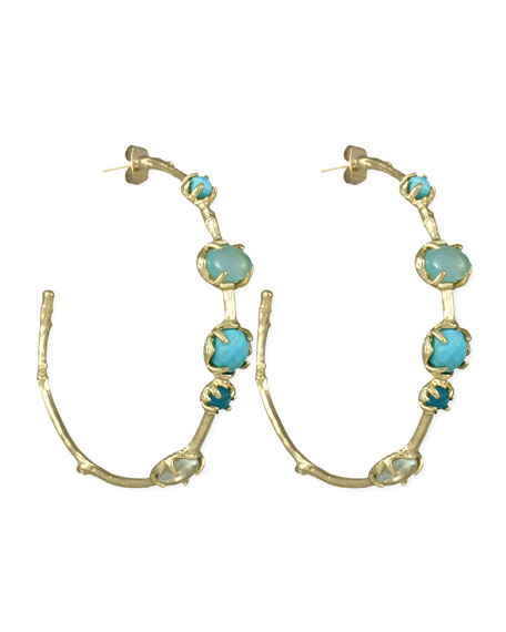 Heather Hoop Earrings, Blue