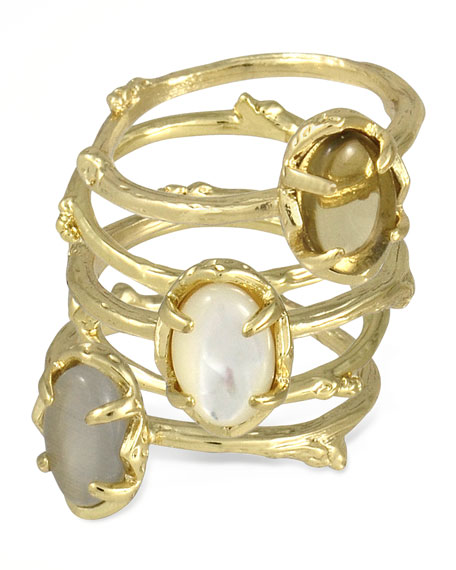 Set of 5 Stormy Stacking Rings, Pearlescent