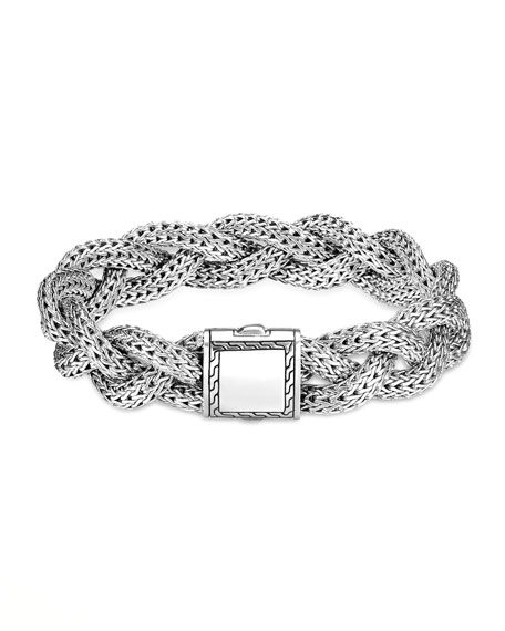 Medium Braided Silver Chain Bracelet