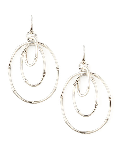 Bamboo Silver Linked Drop Earrings
