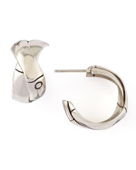 Bamboo Silver J-Hoop Earrings