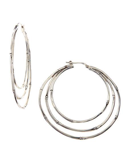 Bamboo Silver Large Orbital Hoop Earrings