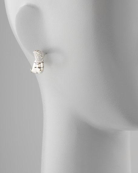 Bamboo Silver White Sapphire J-Hoop Earrings