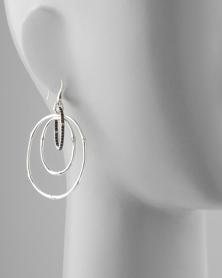 Bamboo Silver Black Sapphire Linked Drop Earrings