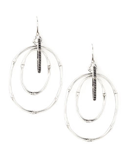 John Hardy Bamboo Silver Black Sapphire Linked Drop Earrings