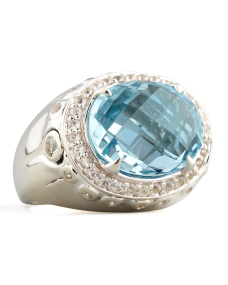 Batu Bamboo Small Blue Topaz Oval Ring