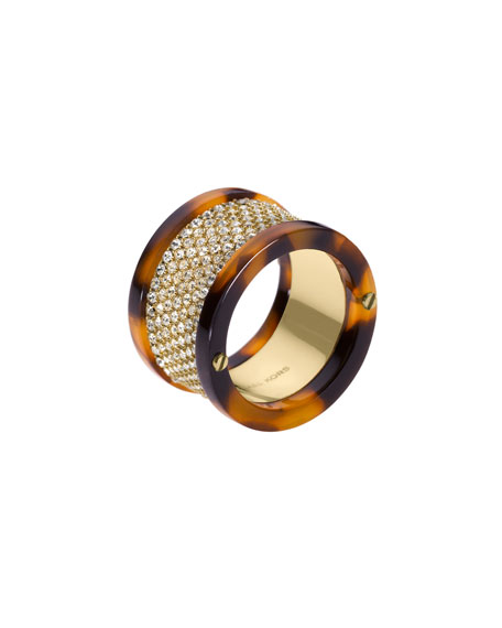 Pave Barrel Ring, Golden