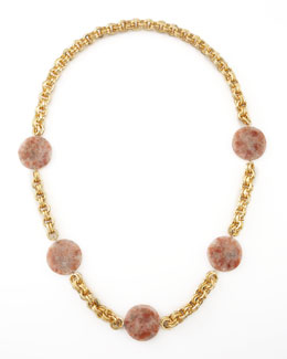 Devon Leigh Pink Sunstone Station Necklace