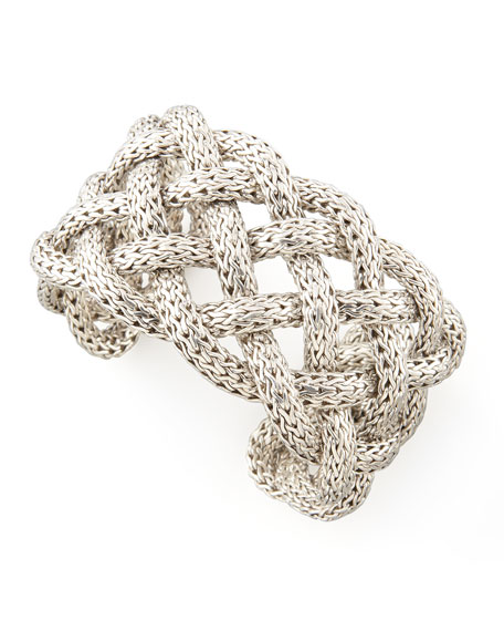 Classic Chain Silver Wide Braided Cuff